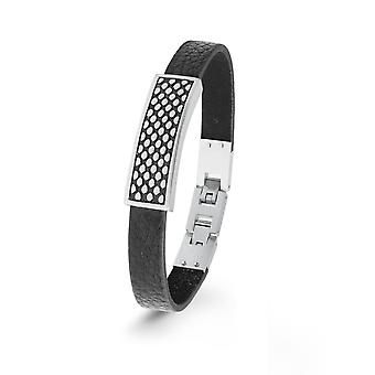 s.Oliver jewel mens leather bracelet black stainless steel 2022627