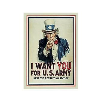 I Want You (Uncle Sam) Steel Fridge Magnet