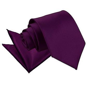 Lazo de satén púrpura llano y conjunto Plaza de bolsillo