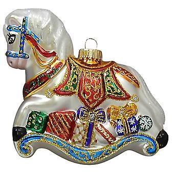 Christmas By Krebs Elegant Rocking Horse Holiday Ornament Glass