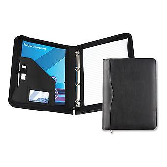 David Van Hagen Houghton PU A4 Zip Around Ring Binder Folder - Black