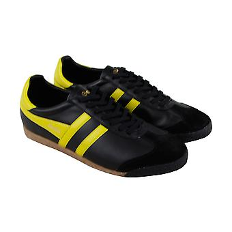 Gola Harrier 50 Leather Mens Black Leather Lace Up Sneakers Shoes