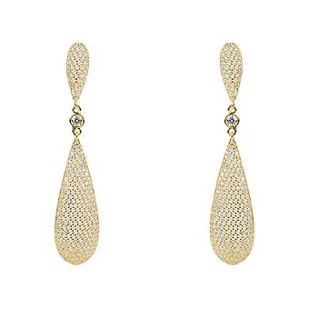 White CZ Large Drop Statement Earrings Gold 925 Silver Big Long Wedding Bridal