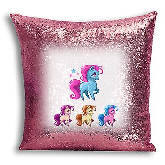 i-Tronixs - Unicorn Printed Design Rose Gold Sequin Cushion / Pillow Cover for Home Decor - 11