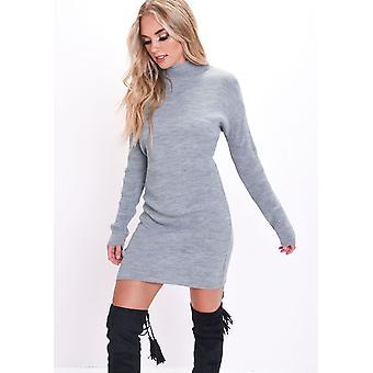 Coltrui brei Bodycon trui jurk grijs