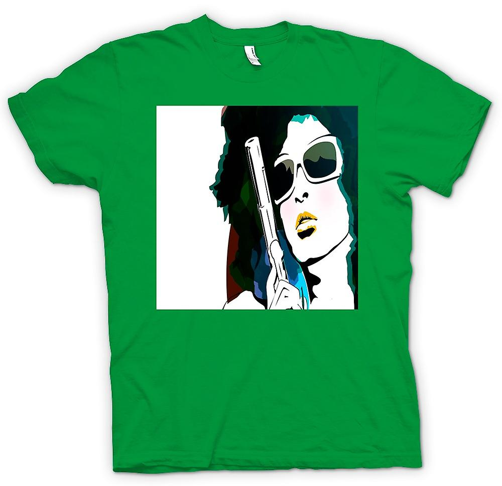 Mens t-skjorte - Pop Art Girl med Pistol - Cool Art