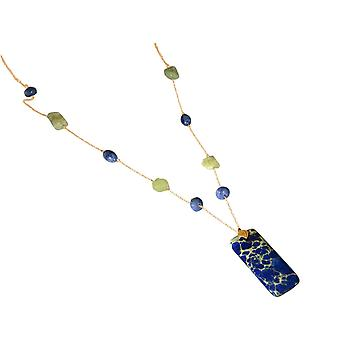 Gemshine ladies necklace with aquamarines and blue lapis lazuli gemstone pendant. 925 Silver or gold plated - sustainable, quality jewelry made in Germany
