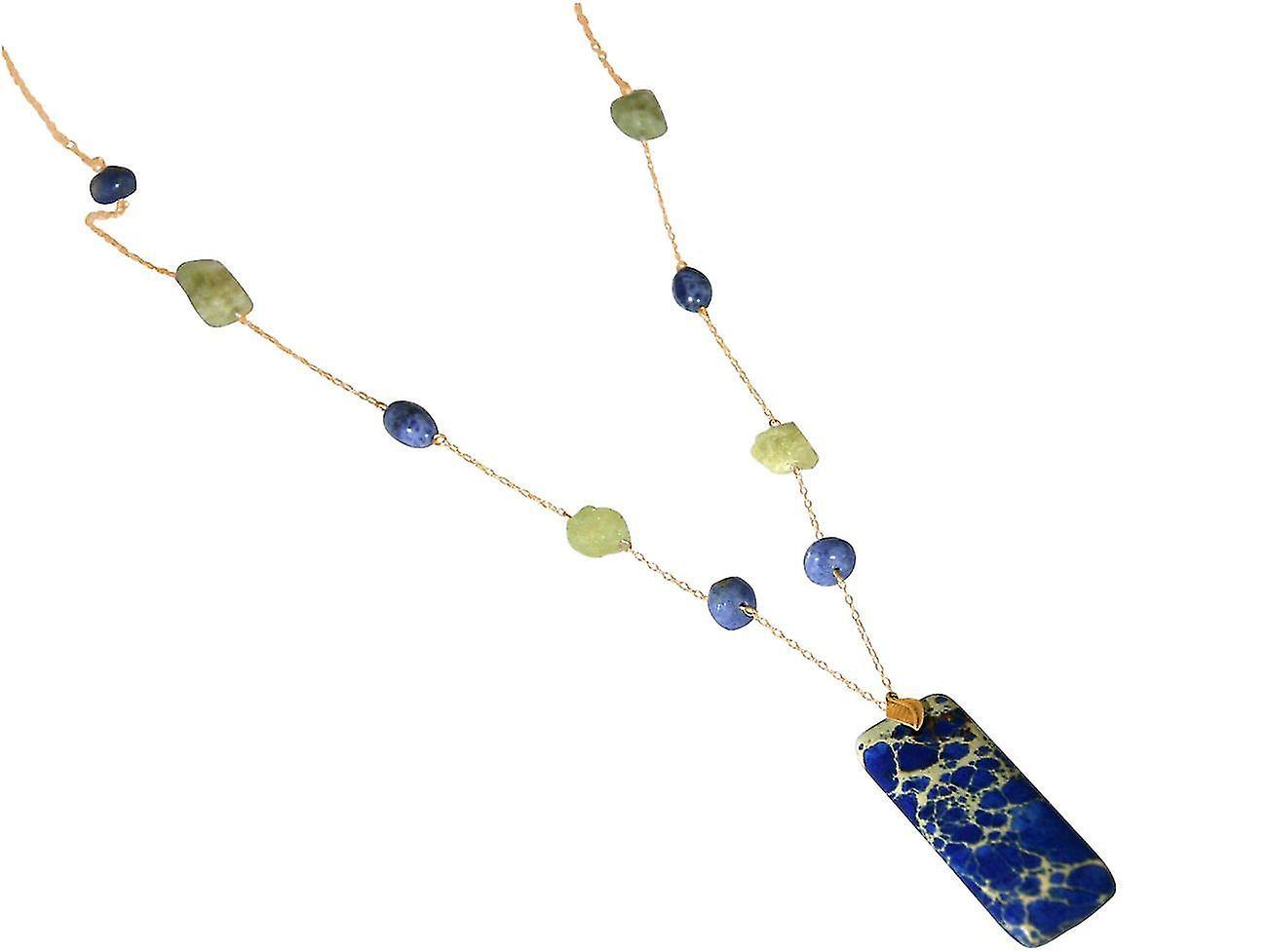 Gemshine femmes Halskette mit Aquamarinen und bleuem Lapis Lbleui Edelstein Anhänger. 925 argent oder veroret - Nachhaltiger, qualitätsvoller Schmuck Made in Gerhommey