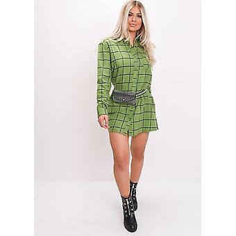 تحقق من الطباعة طويلة الأكمام الفانيلا القميص اللباس الأخضر