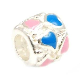 TOC BEADZ 925 Silber Emaille Rosa & Blue Hearts 7 mm Perlen