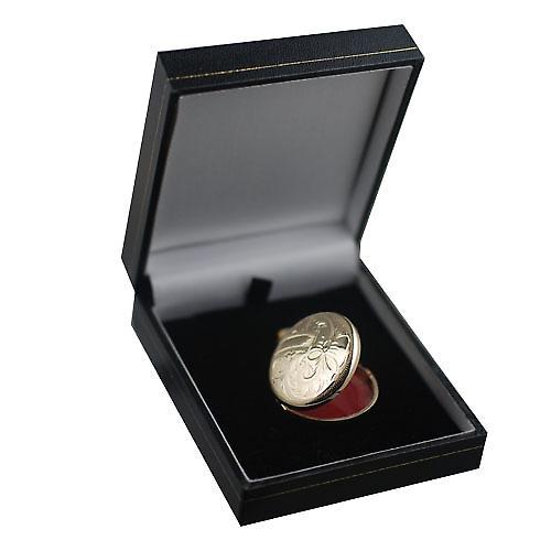 9ct Gold 29mm hand engraved round Locket