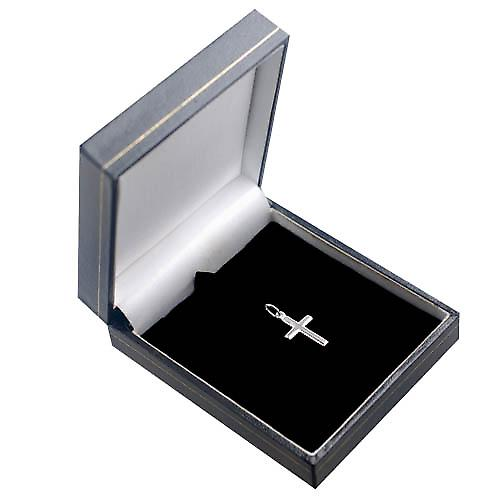 Silver 17x11mm plain milled edge latin Cross
