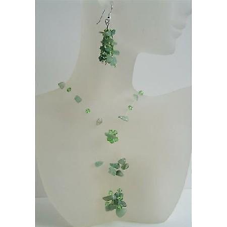 Jade Stone Chip & Erinite Crystal Handcrafted Floating Necklace And Sterling Silver Earrings w/ Tassel