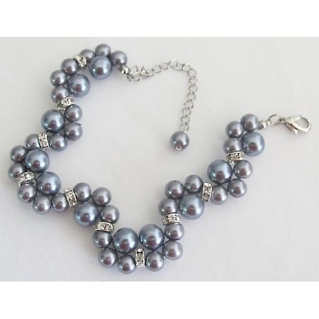 Wedding or Prom Handmade Interwoven Twisted Gray Pearls Bracelet