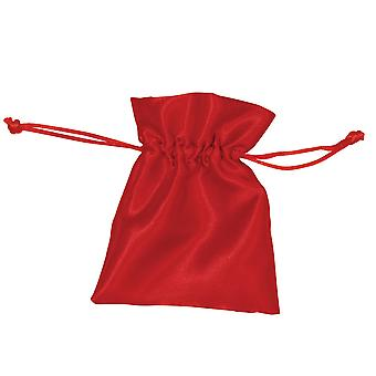 6 Red Satin Small Drawstring Favour Gift Bags | Christmas Party Loot Bags
