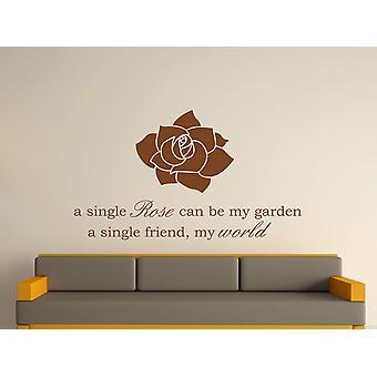 A Single Rose Wall Art Sticker - Brown