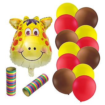 Folieballong Giraffe 12 latex ballonnen en wimpels