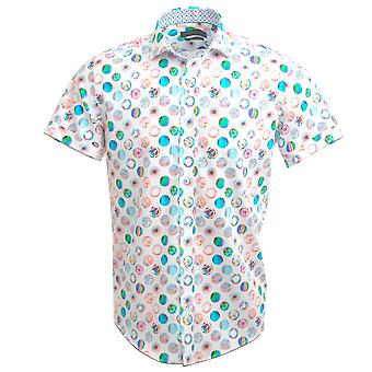 Guide London Cotton Sateen Multi-Coloured 'Psychedelic Globe' Print Short Sleeve Mens Shirt