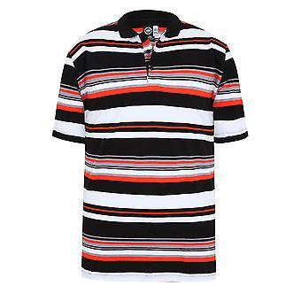 Zwart, wit & oranje Gestreept poloshirt korte mouw