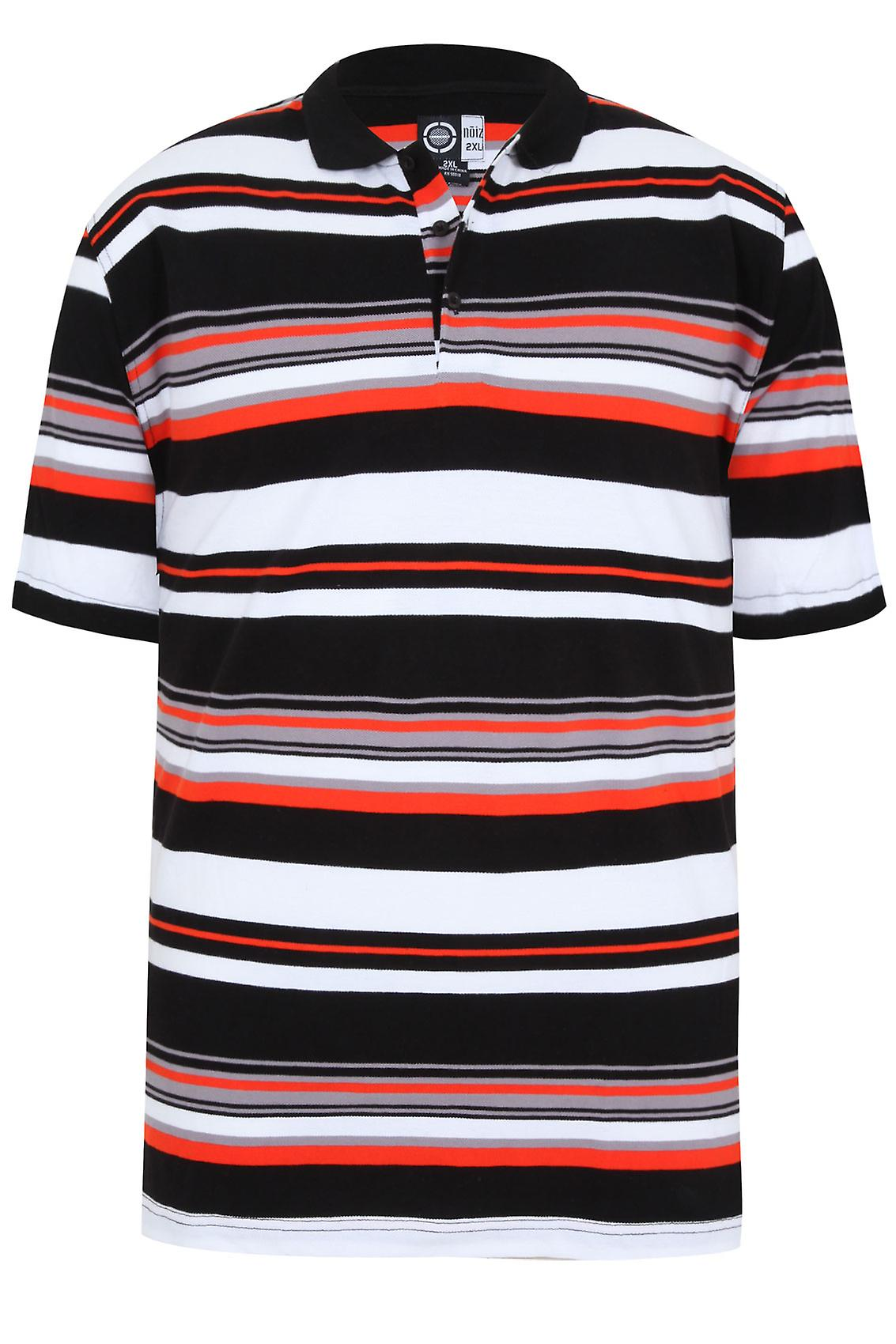 Black, White & Orange Striped Short Sleeve Polo Shirt