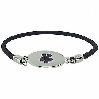Flower Purple Inlaid Paua Shell Elasticated Bracelet by TOC