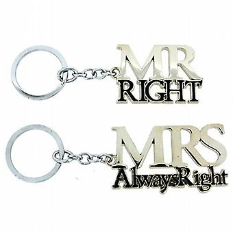 Amore By Juliana Mr Right & Mrs Always Right Set Of Keyrings