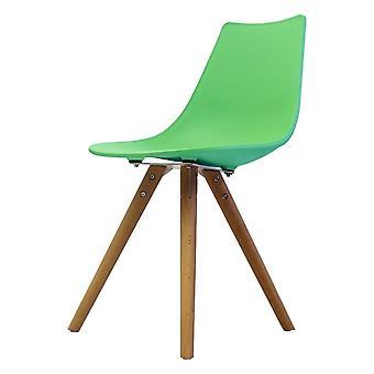 Fusion Living Iconic Peppermint Chaise à manger en plastique avec des jambes en bois clair