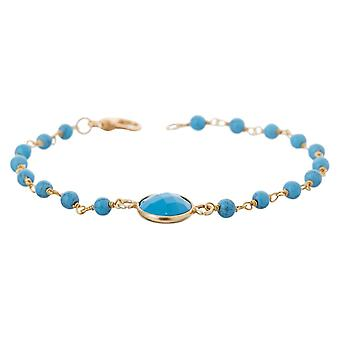Gemshine bracelet with turquoise gemstones in 925 silver or gold plated