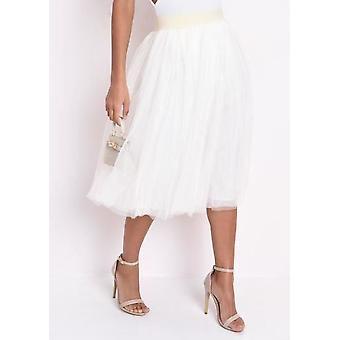 High Waisted Layered Mesh Tulle Midi Skirt Cream