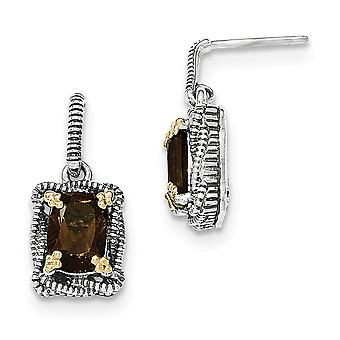 925 Sterling Silver With 14k Smokey Quartz Dangle Post Earrings - 3.00 cwt