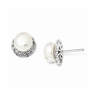 925 Sterling Silver Post Earrings Rhodium-plated Cubic Zirconia White Freshwater Cultured Pearl Stud Earrings