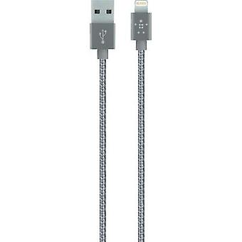iPad/iPhone/iPod cable de datos/cargador plomo [x USB 2.0 1 conector A - 1 x Apple Dock relámpago enchufe] gris de 1.20 m Belkin