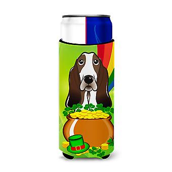 Basset Hound St. Patrick's Day Michelob Ultra Koozies for slim cans BB1987MUK
