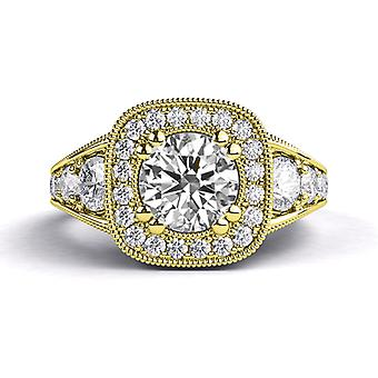 1.80ct White Sapphire and Diamonds Ring Yellow Gold 14K Art Deco Round