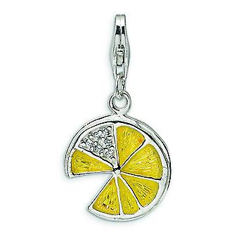 Sterling Silver Rhodium-plated Fancy Lobster Closure 3-D Yellow Enamel Lemon Wedge With Lobster Clasp Charm - Measures 2
