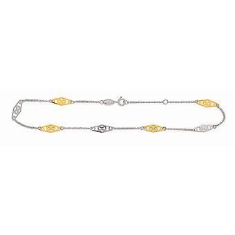 925 Sterling sølv 14K gull-blinket gull Rhodium finish skinnende dempe anklet vår ring lås-10 tommer