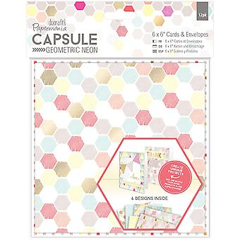 Papermania Geometric Neon Cards W/Envelopes 6