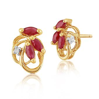 9ct Yellow Gold 0.45ct Natural Ruby & Diamond Floral Stud Earrings