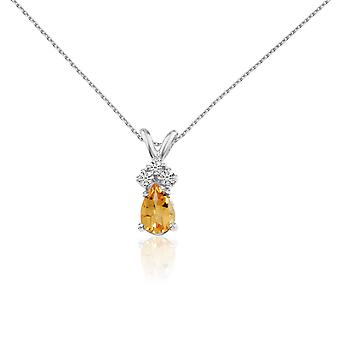 14k White Gold Citrine Pear Pendant with Diamonds and 18