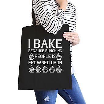 Jeg Bake fordi svart lerretssekker morsomt bakervarer sitat gaver For Moms