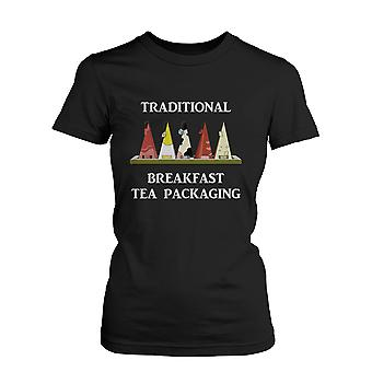 Traditional Breakfast Tea Packaging Humor T-Shirt Funny Graphic Tee for Women  Funny Shirt