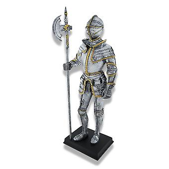 Medieval Knight Full Armor with Poleaxe Statue