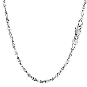 14k White Gold Singapore Chain Necklace, 2.1mm