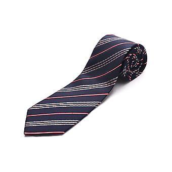 Luciano Barbera mænd Slim silke hals Tie Navy rød