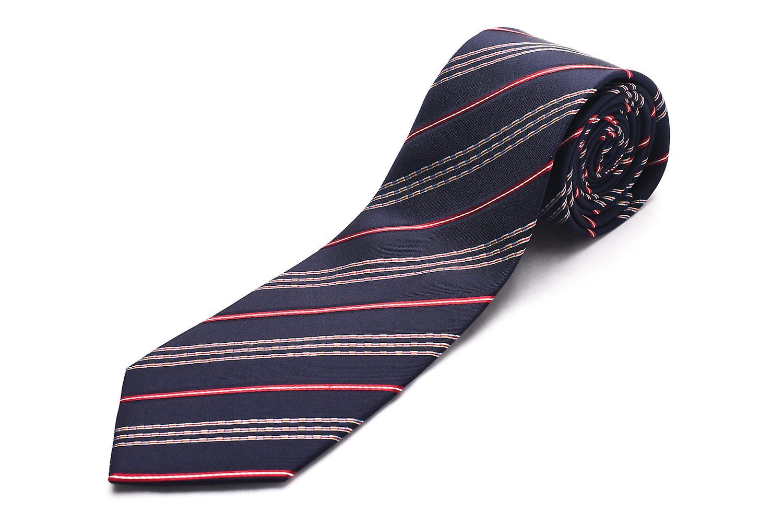 Luciano Barbera Men Slim Silk Neck Tie Navy Red