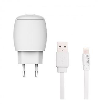 GEAR Charger 220V 1xUSB 1A White Lightning Cable 1 m MFI