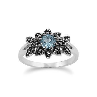 Gemondo 925 Sterling Silber Floral Art Deco Blue Topaz & Markasit Ring