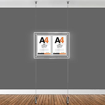 Double A4 LED Light Ceiling To Floor Poster Cable Kit - Portrait