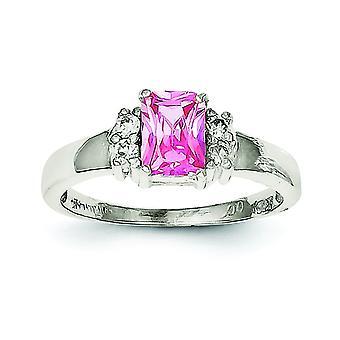 Sterlingsølv poleret åben tilbage Cut-out sider Pink og hvid Cubic Zirconia Ring - ringstørrelse: 6-8