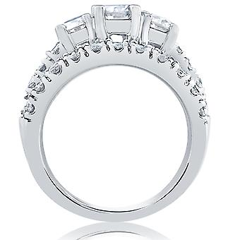 1 1/2 ct 3 - Stone Diamond Engagement Ring bijpassende trouwring Set witgoud
